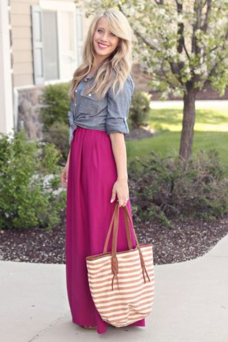 maroon maxi skirt with denim shirt