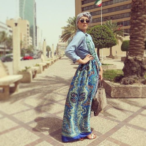 maxi printed dress hijab