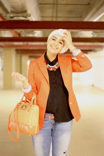 orange blazer turban style