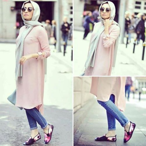 pastel long tunic casual hijab