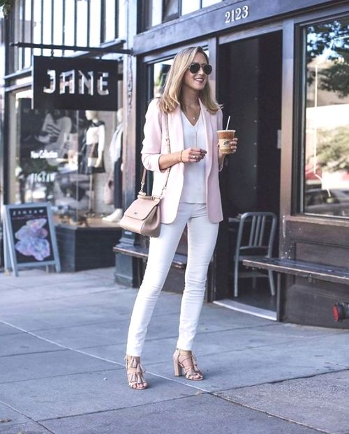 pink blazer with white skinny