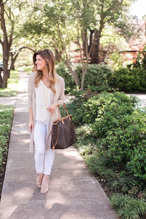 pink long cardigan white outfit