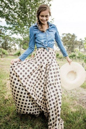 polka dots skirt with denim shirt,