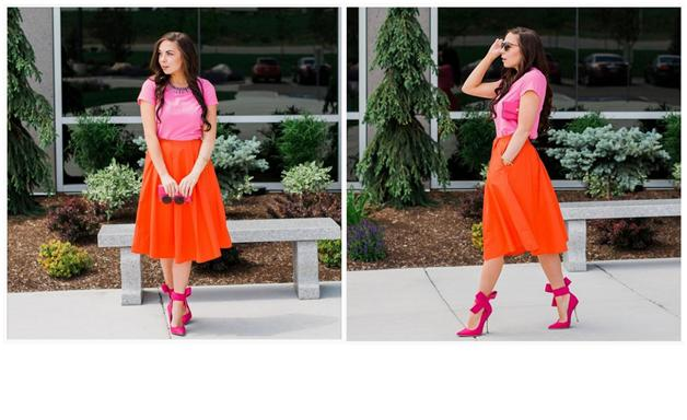 red and pink midi skirt outfit