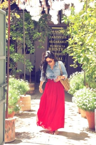 red maxi skirt with denim shirt