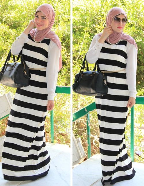 striped maxi dress hijab chic