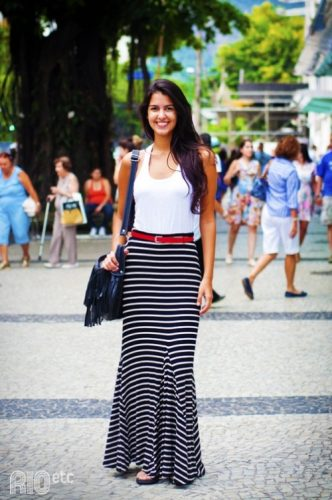 striped maxi skirt with white top