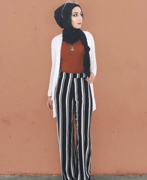 striped palazzo pants with hijab