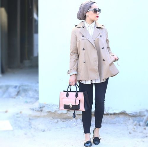 trench jacket hijab look