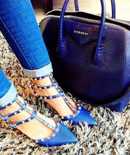valentino rockstud pumps and givenchy indigo blue bag