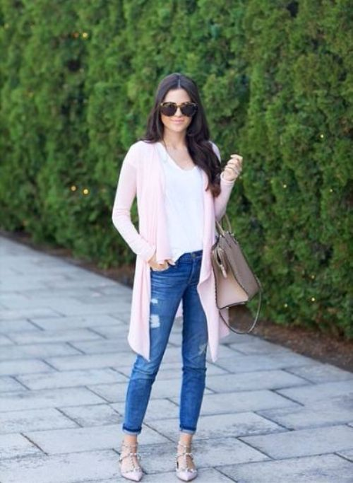 water fall pink cardigan