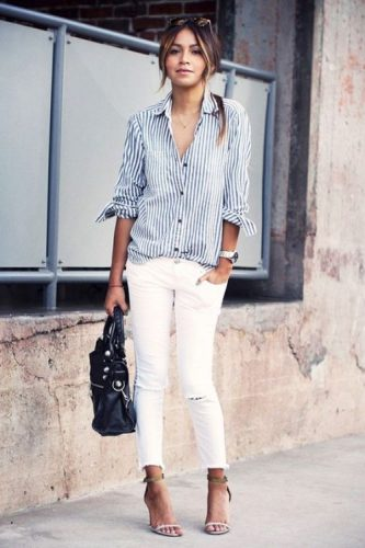 white button down stripped shirt