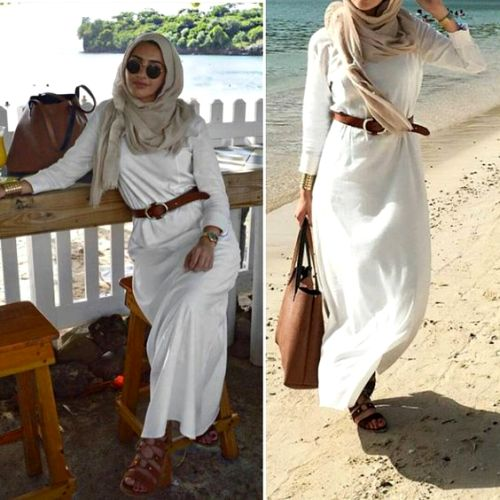 white-maxi-hijab-dress-with-tan-scarf