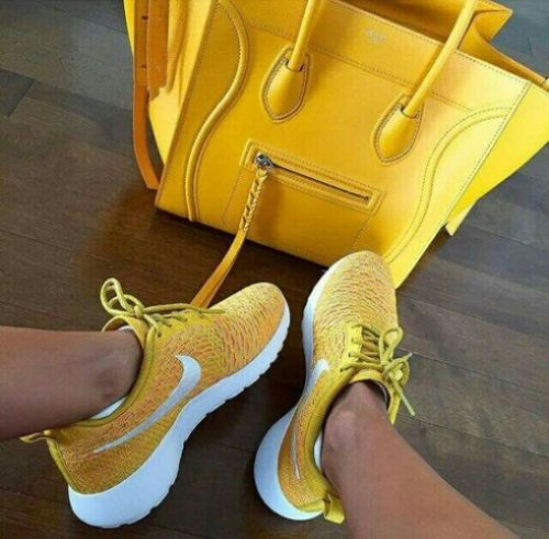 yellow nike shoes with celine bag