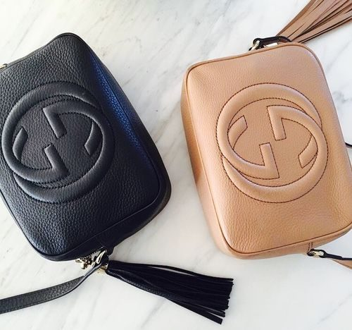 Black leather and camel leather Gucci Soho Crossbody bags