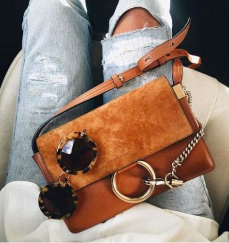 Chloe tan Bag, Ripped Jeans