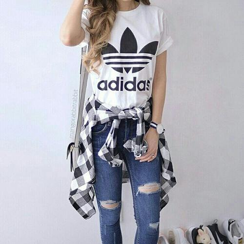 adidas tee and flannel and jeans,