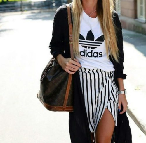 adidas tee and open striped skirt