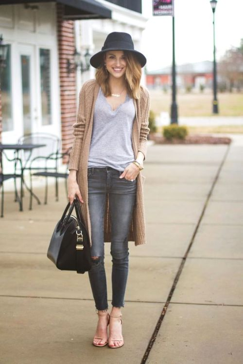 beige cardigan fall look
