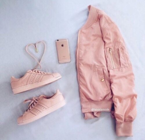 blush adidas with jacket