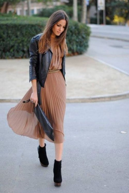 blush pleated dress with jacket