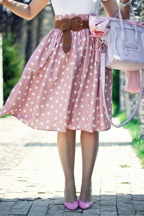 blush polka dots midi skirt