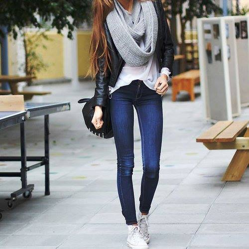 chunky scarf street style outfit