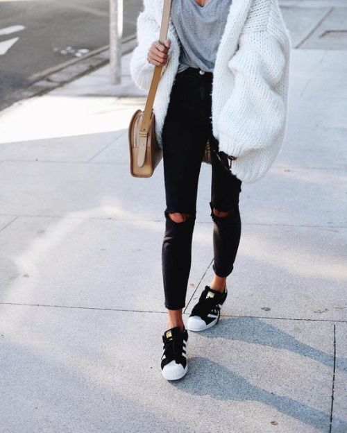 chunky white cardigan outfit