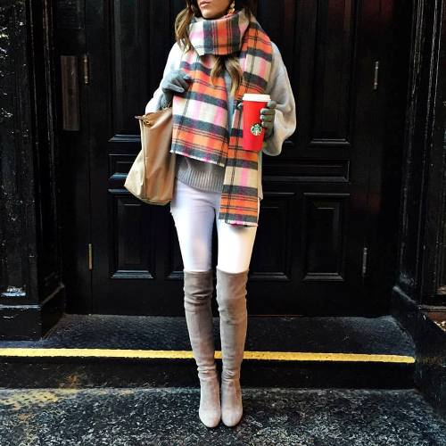 colorful plaid scarf high knee boots
