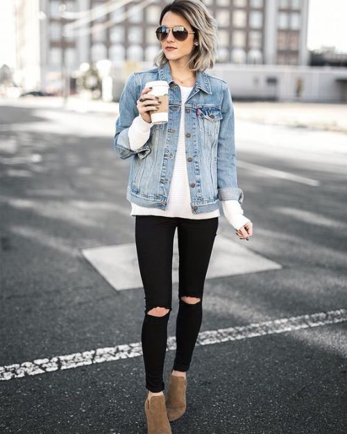 denim jean jacket outfit idea