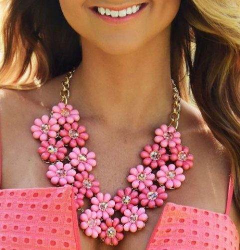floral pink statement necklace