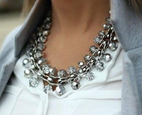 gray crystal statement necklace