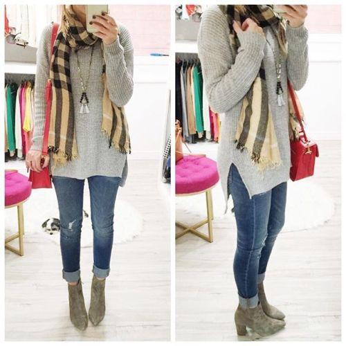 grey sweater plaid scarf outfit