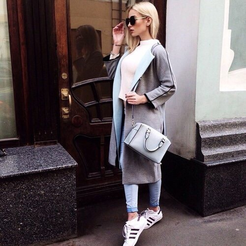 grey trench coat fall outfit