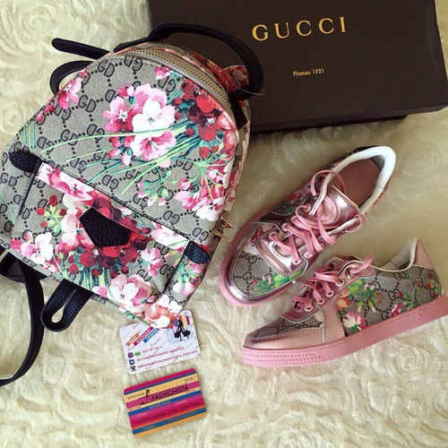 gucci backpack and shoes