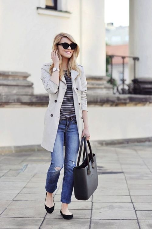 ivory trench coat with striped tee