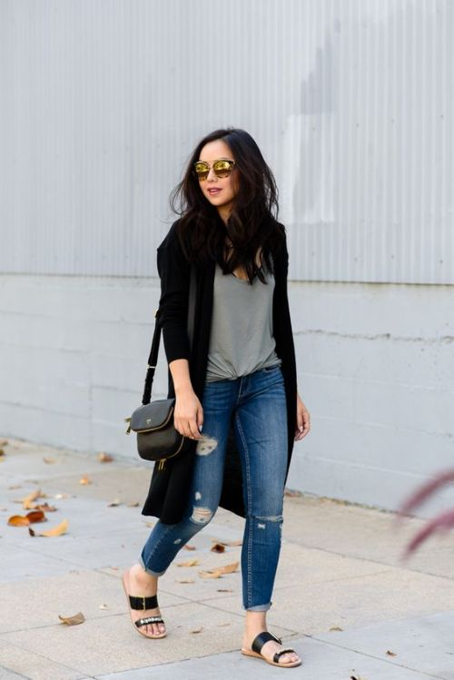 long cardigan with tee outfit