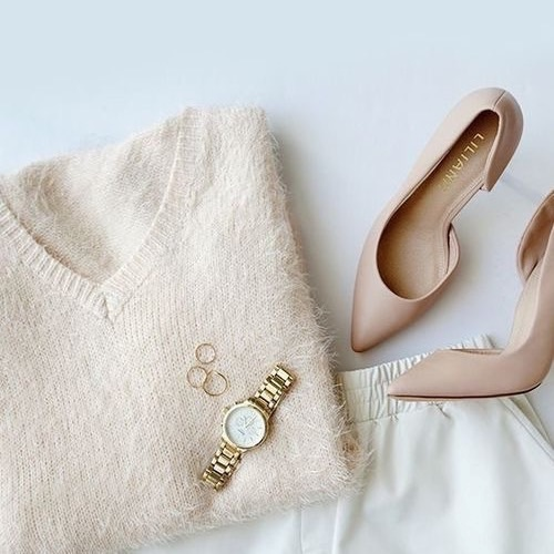 nude pump with sweater