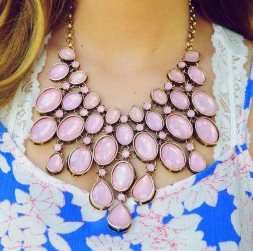pastel pink statement necklace