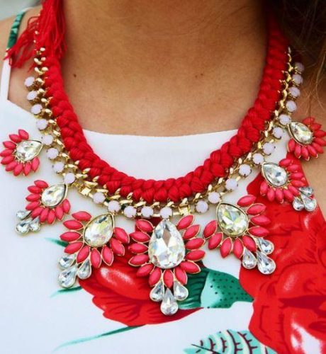 red with crystal statment necklace
