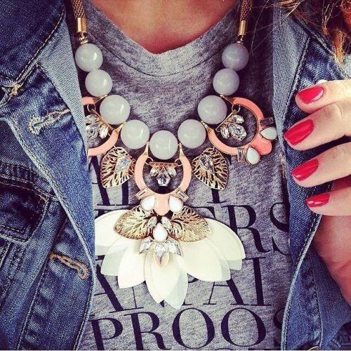 statement necklace bloom flower with jean jacket