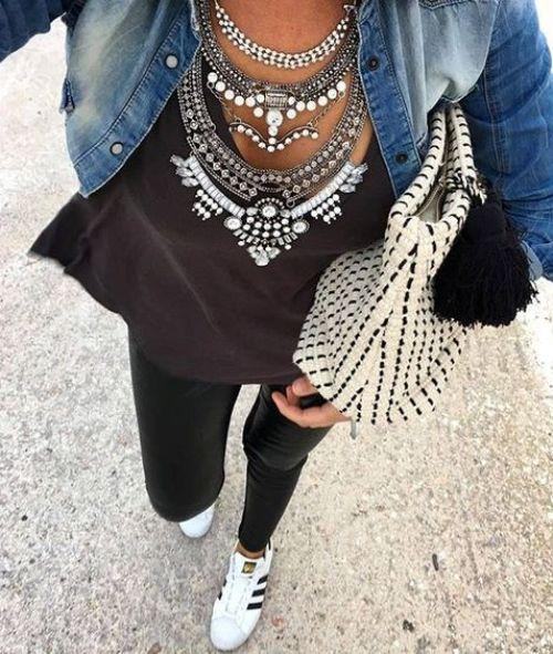 statement necklace with denim jacket