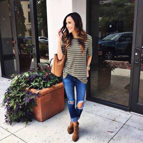 striped tee fall look