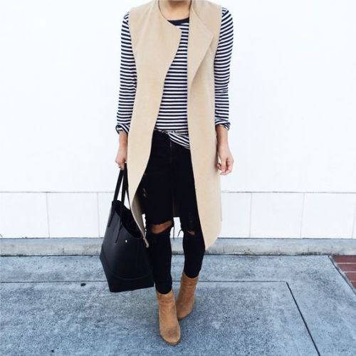 striped tee with beige vest
