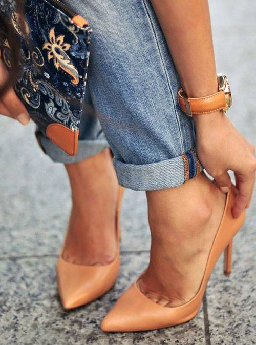 tan nude pump heels