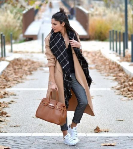 tan trench coat with plaid scarf