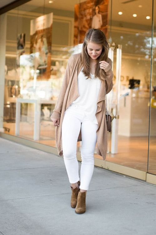tan waterfall cardigan white outfit