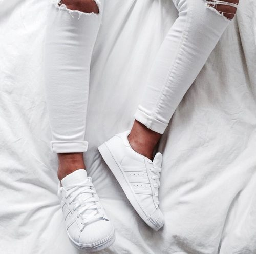 white adidas with white pants