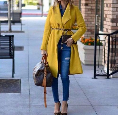 yellow trench coat outfit