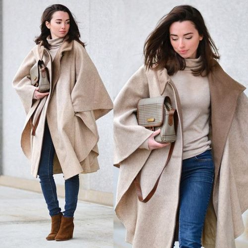 beige cape coat outfit
